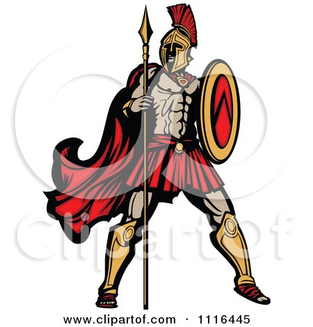 Clipart Muscular Spartan Warrior With A Spear And Shield - Royalty Free Vector Illustration by Chromaco