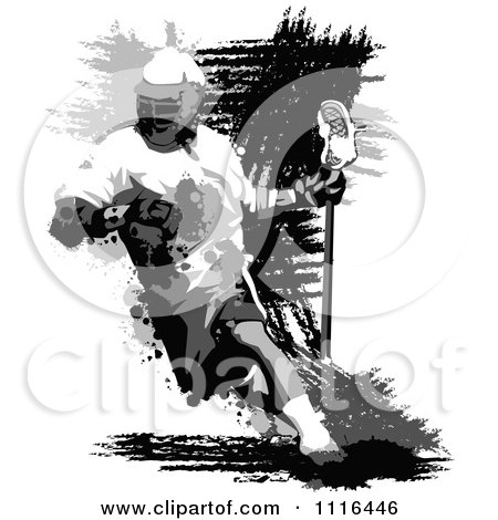 Clipart Grungy Grayscale Lacrosse Player - Royalty Free Vector Illustration by Chromaco