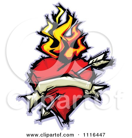 Clipart Flaming Heart With A Banner And Arrow - Royalty Free Vector Illustration by Chromaco