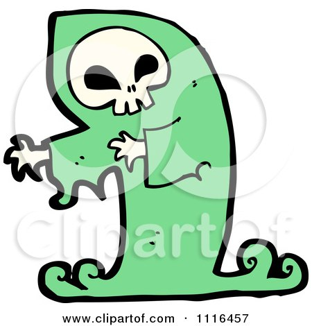 Clipart Green Halloween Spook Skull Ghost - Royalty Free Vector Illustration by lineartestpilot