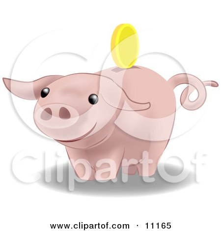 Golden Coin Above the Slot of a Pink Pig Bank Clipart Illustration by AtStockIllustration
