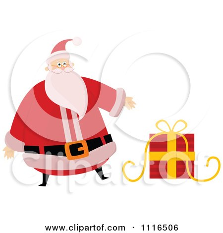 Clipart Christmas Santa Claus Presenting A Gift - Royalty Free Vector Illustration by lineartestpilot