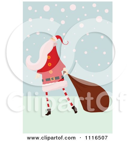 Clipart Retro Christmas Santa Claus Pulling A Sack Through Snow - Royalty Free Vector Illustration by lineartestpilot