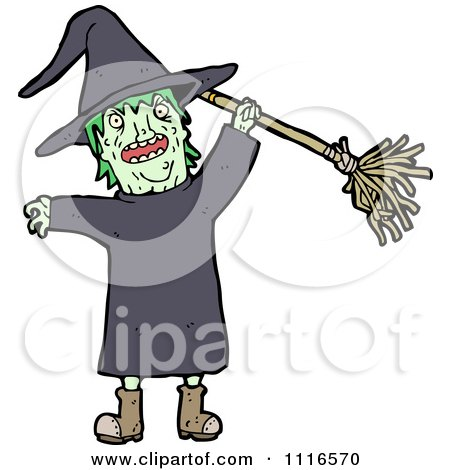 Clipart Halloween Witch Holding Up A Broom 1 - Royalty Free Vector Illustration by lineartestpilot