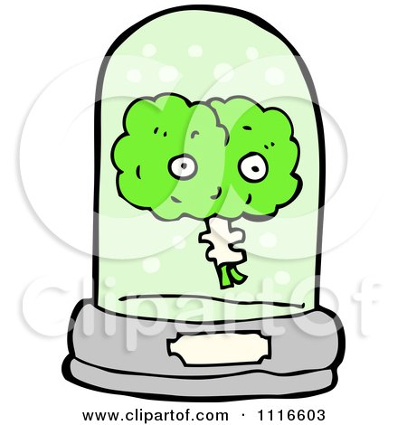Clipart Green Brain Floating In A Specimen Jar 1 - Royalty Free Vector Illustration by lineartestpilot