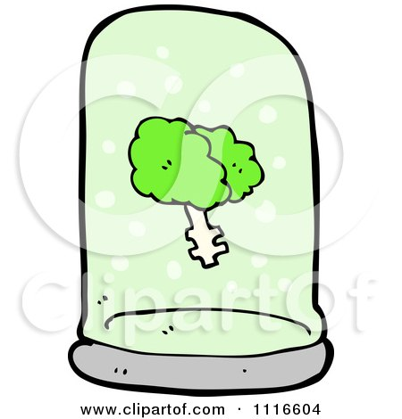 Clipart Green Brain Floating In A Specimen Jar 2 - Royalty Free Vector Illustration by lineartestpilot