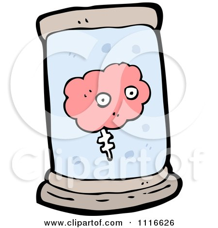 Clipart Pink Brain Floating In A Specimen Jar 1 - Royalty Free Vector Illustration by lineartestpilot