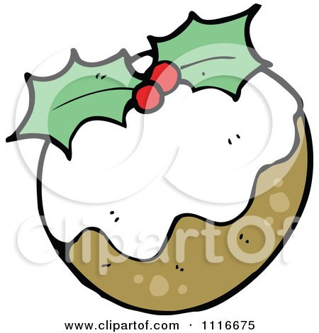 Clipart Christmas Plum Pudding With Holly 1 - Royalty Free Vector Illustration by lineartestpilot