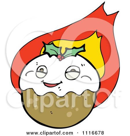 Clipart Christmas Pudding Character 5 - Royalty Free Vector Illustration by lineartestpilot