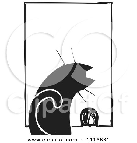 Vector Clipart Of a House Cat Watching A Mouse At A Hole Black And White Woodcut - Royalty Free Graphic Illustration by xunantunich
