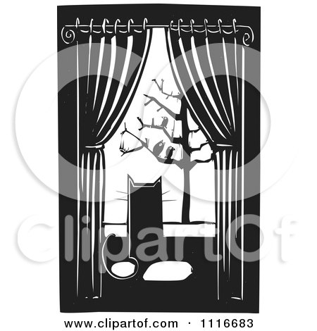 Vector Clipart | House Cat Watching Birds Through A Window Black And White Woodcut | Royalty Free Graphic Illustration by xunantunich