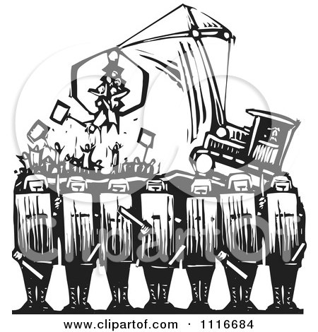 Vector Clipart | Syrian Security With Protestors Being Attached By A Tractor Black And White Woodcut | Royalty Free Graphic Illustration by xunantunich