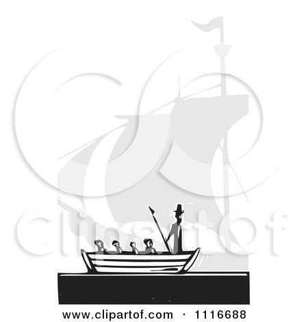 Vector Clipart | Moby Dick And Boat Black And White Woodcut | Royalty Free Graphic Illustration by xunantunich