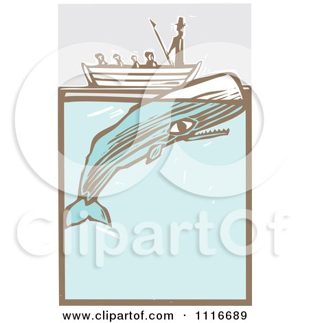 Vector Clipart   Moby Dick In A Boat By The Whale Woodcut   Royalty Free Graphic Illustration by xunantunich