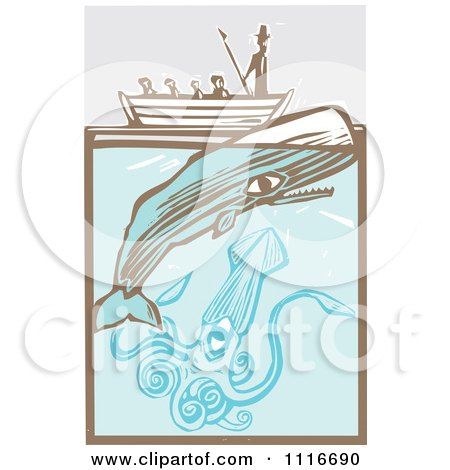 Vector Clipart | Moby Dick In A Boat By The Whale And Giant Squid Woodcut | Royalty Free Graphic Illustration by xunantunich