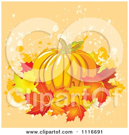 Vector Clipart Of A Halloween Thanksgiving Pumpkin With Autumn Leaves On Grunge - Royalty Free Graphic Illustration by Pushkin