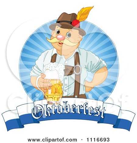 Vector Clipart Of A Happy Oktoberfest Man Holding Beer Over A Banner - Royalty Free Graphic Illustration by Pushkin