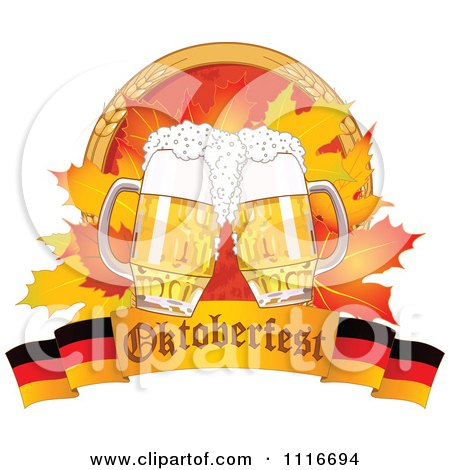 Vector Clipart Of An Oktoberfest Beer Mugs And Autumn Leaves With Wheat Over A German Banner - Royalty Free Graphic Illustration by Pushkin