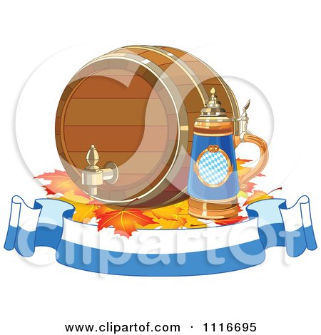 Vector Clipart Of An Oktoberfest Beer Keg And Stein With Autumn Leaves Over A Banner - Royalty Free Graphic Illustration by Pushkin