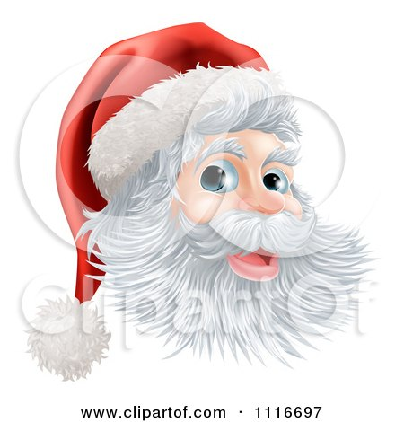 Vector Clipart Of A Jolly Christmas Santa Face With A Hat - Royalty Free Graphic Illustration by AtStockIllustration