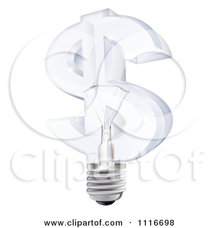 Vector Clipart 3d Glass Dollar Symbol Light Bulb - Royalty Free Graphic Illustration by AtStockIllustration