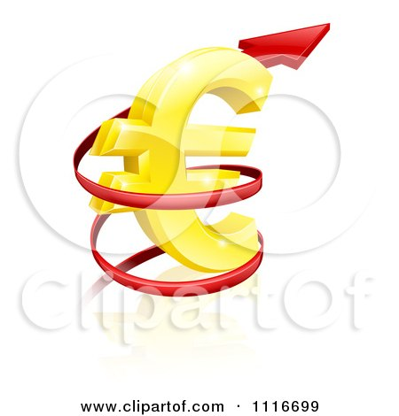 Vector Clipart 3d Increase Spiraling Red Arrow Around A Golden Euro Currency Symbol - Royalty Free Graphic Illustration by AtStockIllustration