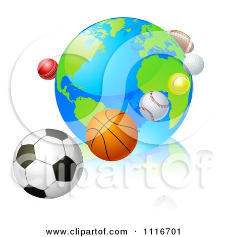 Vector Clipart 3d Earth Globe With Sports Balls In Orbit Around It - Royalty Free Graphic Illustration by AtStockIllustration