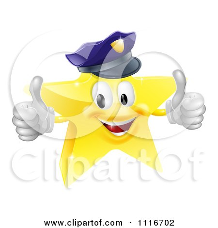 Vector Clipart 3d Police Star Mascot Holding Two Thumbs Up - Royalty Free Graphic Illustration by AtStockIllustration