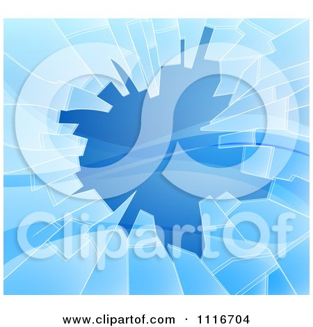Vector Clipart Of A Background Of Shattered Blue Glass With Shards - Royalty Free Graphic Illustration by AtStockIllustration