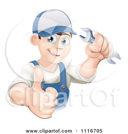 Vector Clipart Of A Happy Mechanic Plumber Or Handy Man WorkerHolding A Thumb Up And A Wrench - Royalty Free Graphic Illustration by AtStockIllustration