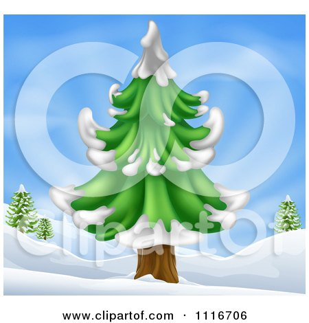 Vector Clipart Of A Christmas Scene Of A Flocked Evergreen Tree In A Hilly Snow Landscape - Royalty Free Graphic Illustration by AtStockIllustration