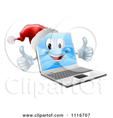 Vector Clipart Of A 3d Black Friday Christmas Laptop Mascot Wearing A Santa And Holding Two Thumbs Up - Royalty Free Graphic Illustration by AtStockIllustration