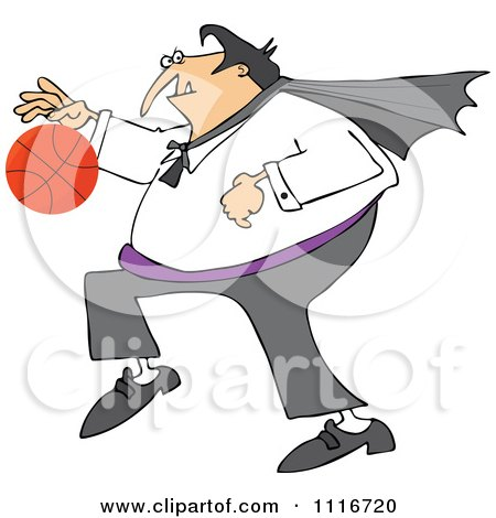 Clipart Of A Sporty Halloween Vampire Playing Basketball - Royalty Free Vector Illustration by djart