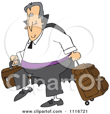 Clipart Of A Traveling Halloween Vampire With Luggage - Royalty Free Vector Illustration by djart