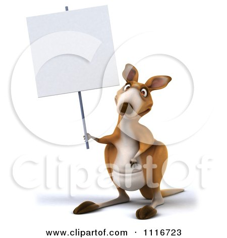Clipart Of A 3d Aussie Kangaroo Holding A Sign - Royalty Free CGI Illustration by Julos