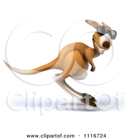 Clipart Of A 3d Aussie Kangaroo Wearing Sunglasses And Hopping By - Royalty Free CGI Illustration by Julos