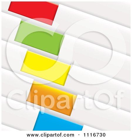 Vector Clipart Of Colorful Diagonal Folder Tags - Royalty Free Graphic Illustration by michaeltravers