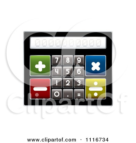 Vector Clipart Of A Compact Calculator With Big Buttons - Royalty Free Graphic Illustration by michaeltravers