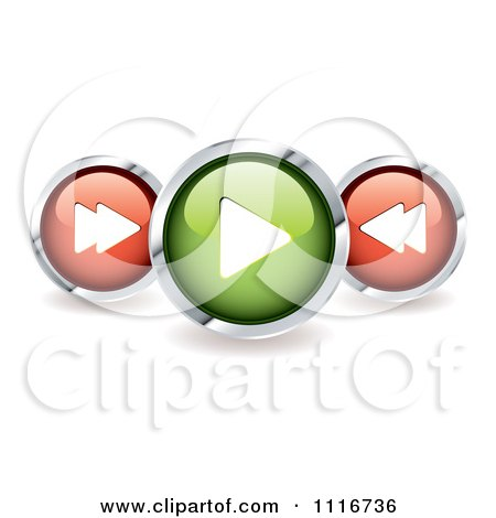 Vector Clipart Of 3d Shiny Round Music Control Icons With Shadows - Royalty Free Graphic Illustration by michaeltravers