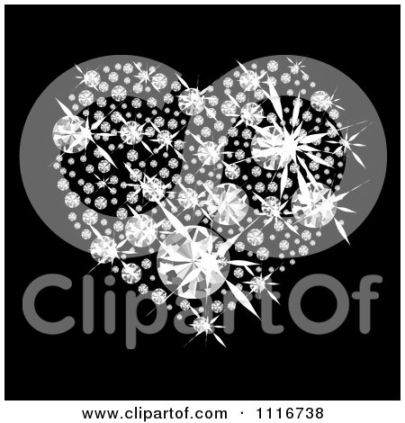 Vector Clipart Of A Sparkly Heart Made Of Diamonds On Black - Royalty Free Graphic Illustration by michaeltravers