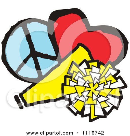 Vector Clipart Of A Cheerleading Megaphone Pom Pom Heart And Peace Symbol - Royalty Free Graphic Illustration by Johnny Sajem