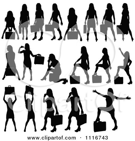 Vector Clipart Of Silhouetted Black Businesswomen Posing With Briefcases 1 - Royalty Free Graphic Illustration by dero