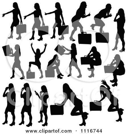 Vector Clipart Of Silhouetted Black Businesswomen Posing With Briefcases 2 - Royalty Free Graphic Illustration by dero