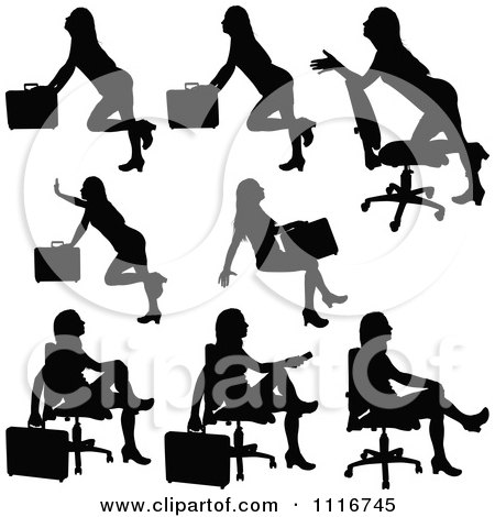 Vector Clipart Of Silhouetted Black Businesswomen Posing With Briefcases 3 - Royalty Free Graphic Illustration by dero