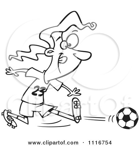 Cartoon Of An Outlined Girl Kicking A Soccer Ball - Royalty Free Vector Clipart by toonaday