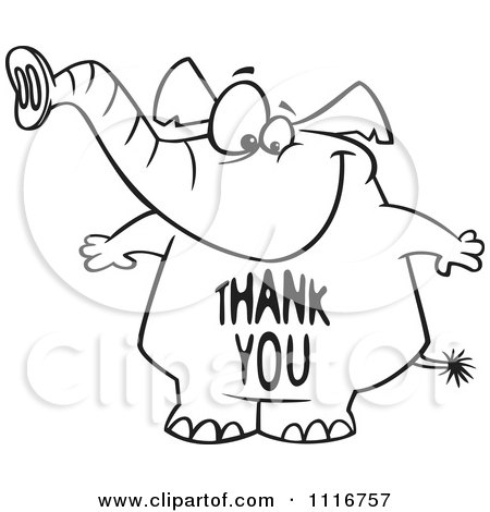 Cartoon Of An Outlined Elephant With A Thank You Belly - Royalty Free Vector Clipart by toonaday