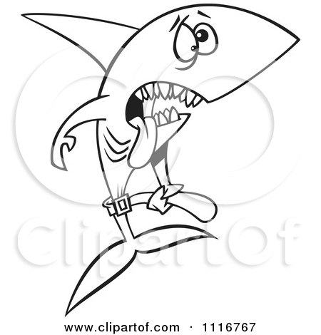 Cartoon Of An Outlined Skinny Starving Shark - Royalty Free Vector Clipart by toonaday