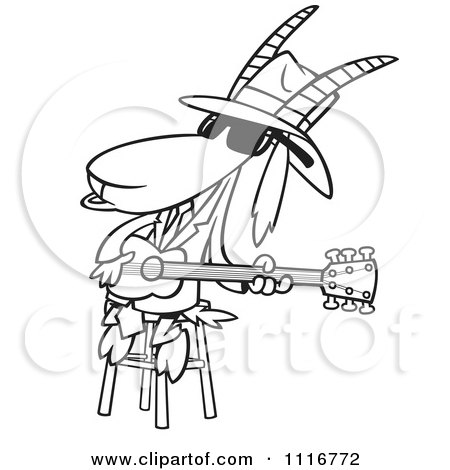 Cartoon Of An Outlined Blues Goat Musician Playing A Guitar - Royalty Free Vector Clipart by toonaday