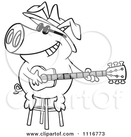 Cartoon Of An Outlined Blues Pig Musician Playing A Guitar - Royalty Free Vector Clipart by toonaday