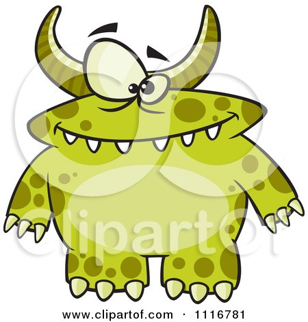 Cartoon Of A Spotted And Horned Green Monster - Royalty Free Vector Clipart by toonaday